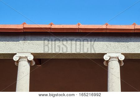 Ionic columns Roman building in Kos Greece