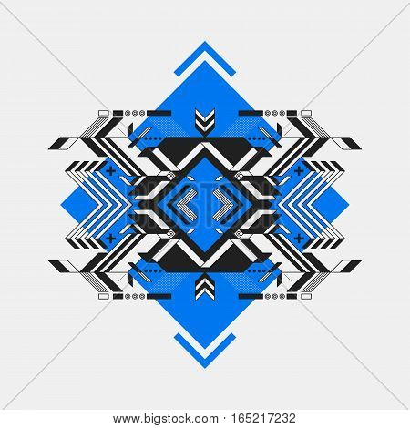 Abstract Symmetric Design Element On Blue Rhombus. Futuristic Design, Useful For Prints And Posters.