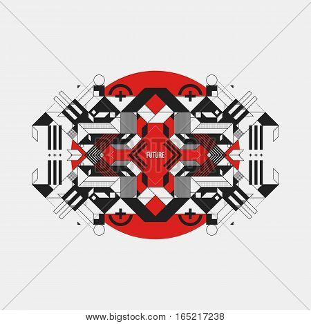 Abstract Symmetric Design Element On Red Circle. Futuristic Design, Useful For Prints And Posters.