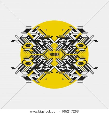 Abstract Symmetric Design Element On Yellow Circle. Futuristic Design, Useful For Prints And Posters