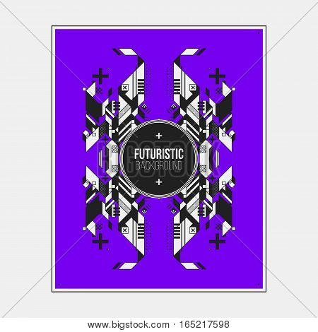 Poster/print Design Template With Symmetric Abstract Element On Colorful Background.
