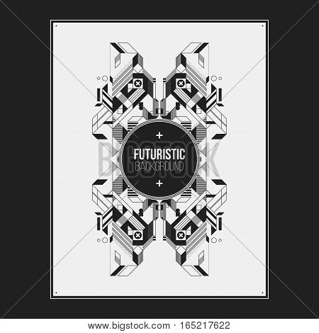 Poster/print Design Template With Symmetric Abstract Element On White Background. Useful For Book An