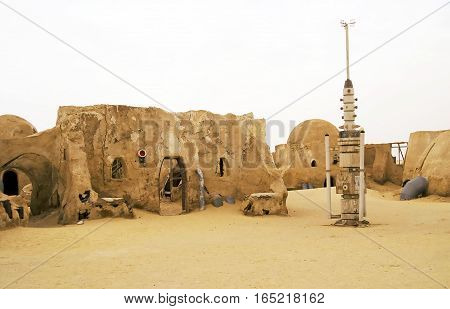 Tunisia - May 01, 2008: Abandoned sets for the shooting of the movie Star Wars in the Sahara desert on a background of sand dunes.