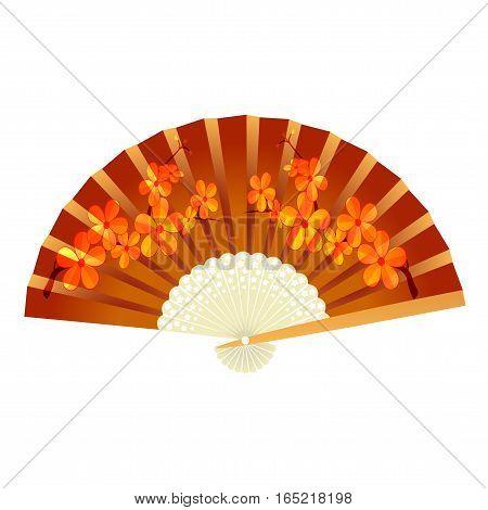 Folding fan. With pattern sakura. Vector illustration