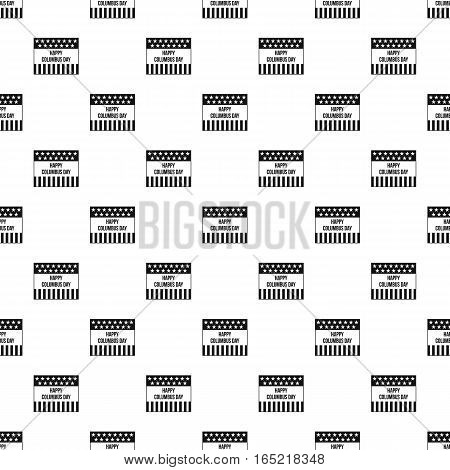 Happy Columbus day banner pattern. Simple illustration of happy Columbus day banner vector pattern for web