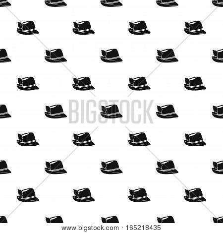 Hat with feather pattern. Simple illustration of hat with feather vector pattern for web