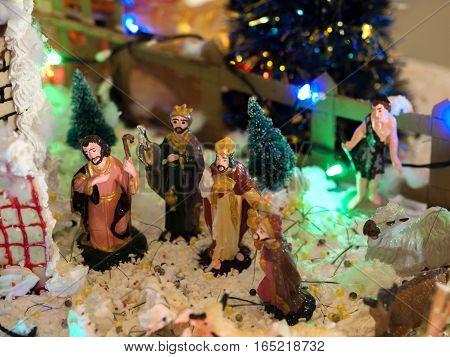 COLOR PHOTO OF NATIVITY SCENE OF JESUS