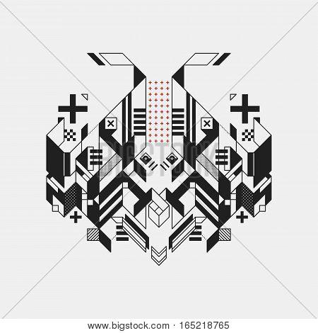Abstract Geometric Design Element On White Background. Futuristic Design, Geometric Shapes.