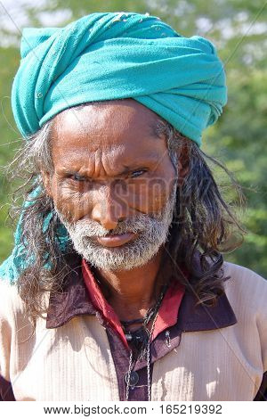 NIRONA, GUJARAT, INDIA - DECEMBER 19, 2013: Portrait of a local man in Nirona, local village near Bhuj