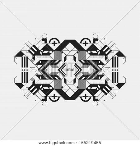 Futuristic Symmetric Design Element On White Background. Useful For Prints And Posters.