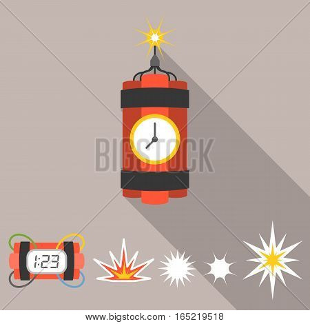 Vector dynamite and explosion icons set, flat design