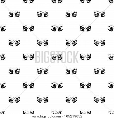 Two wooden mugs of beer pattern. Simple illustration of two wooden mugs of beer vector pattern for web