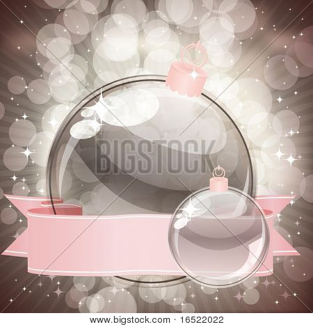 Christmas background with transparent balls poster