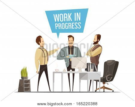 Work meeting design in cartoon style with standing men around office table during communication vector illustration