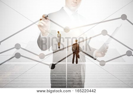 Abstract image of thoughtful businesspeople standing on concrete stairs with bright light and business chart. Success concept