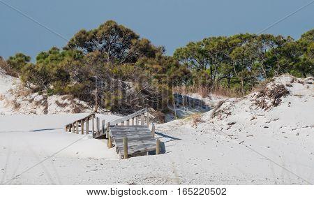 Boardwalk damaged after hurricane along the Gulf Coast
