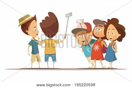 Happy children in summer clothing doing self portrait with help monopod cartoon style vector illustration