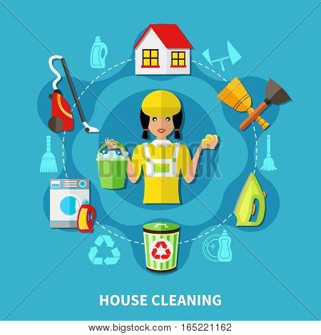 Doodle style background with round composition of charwoman character and flat icons of house cleaning facilities vector illustration