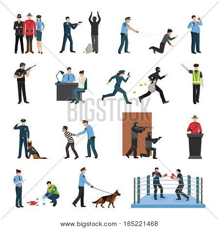 Police officers tact team training and field work flat icons collection with shooting to stop isolated vector illustration