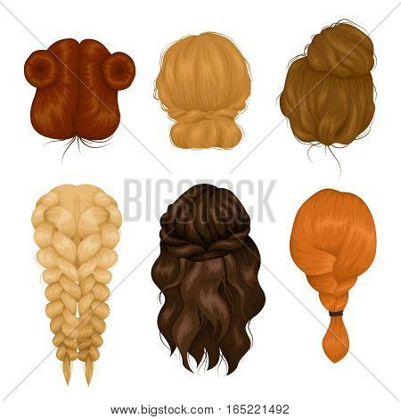 Female characters wigs 6 various hairstyle back view icons collection with casual hairdo and plait isolated vector illustration