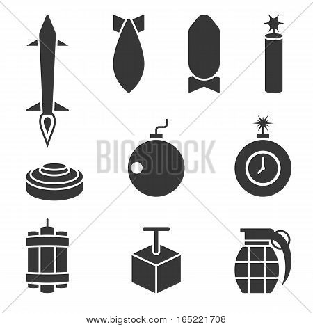 Silhouette vector bomber and dynamite icons set