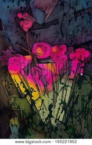 Bouquet of roses hot batik background texture handmade on silk abstract surrealism art