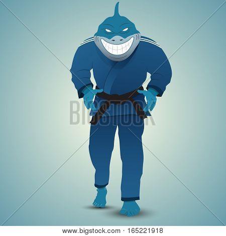 judoka shark attack. Cartoon style. Vector illustration