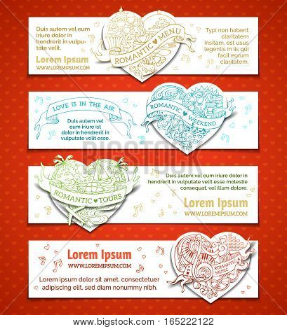 Valentine's day doodles doodles banners. Romantic music weekend menu tours. There is place for your text on white background.