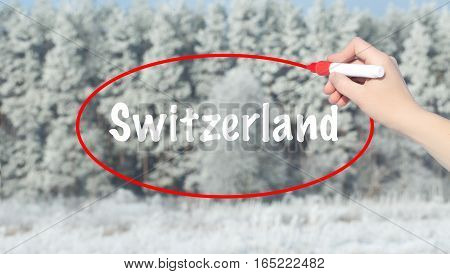 Woman Hand Writing Switzerland With A Marker Over Winter Forest.