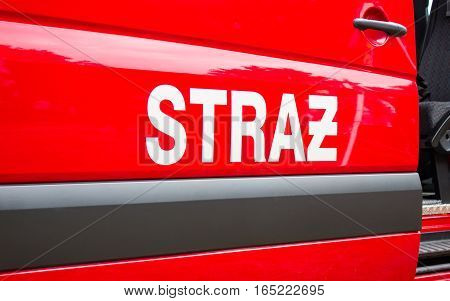 Poland Poznan -October 1 2016. Straz pozarna - sign Polish firefighters on the vehicle.