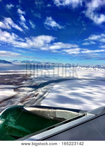 aerial view of snow covered utah rocky mountains