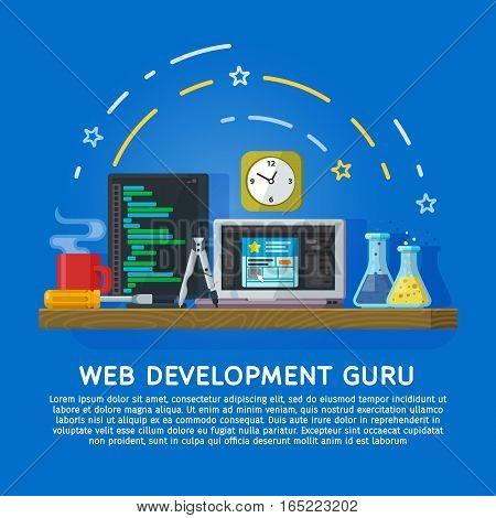 Flat color banner design concept for creative studio. Website development Web design. Modern flat design for Web Banner Website Element. Workspace designer and programmer. Vector illustration