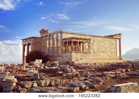 Erechtheion Temple on the Acropolis Hill of Athens Greece