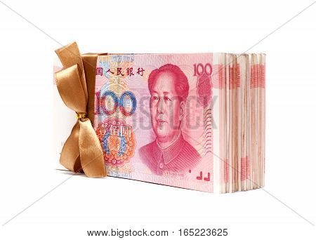 A stack of RMB (Chinese Yuan Note) isolated on white