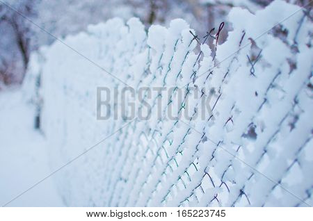 Mesh Fence Covered In A Thick Layer Of Snow