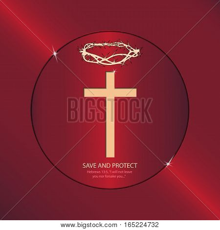 Religious symbols speak to us about the sacrifice of Jesus Christ. Logo with cross and crown of thorns in a bright rim.