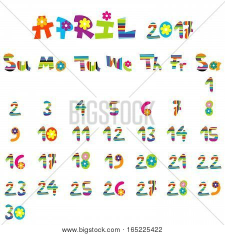 Cute April 2017 calendar for kids on white background