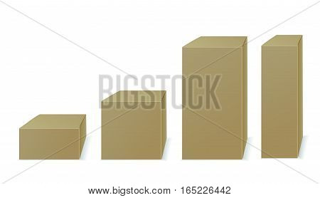 Brown paper or cardboard boxes isolated on white background. Different shapes. Front view. Place for you text. Vector