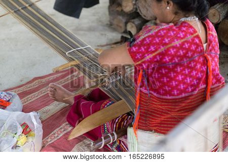 Hill Tribe Working Embroidery Of Traditional Clothes Show For Tourist