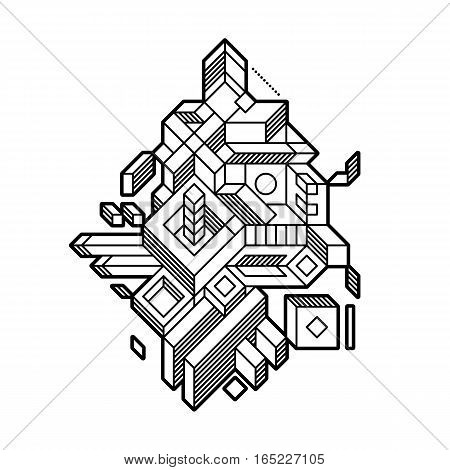 Abstract Geometric Composition With Complex Geometric Shapes. Style Of Modern Art And Graffiti. The