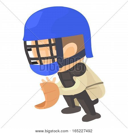 Protecting player icon. Cartoon illustration of protecting player vector icon for web