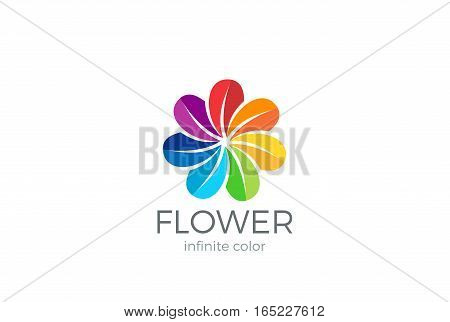 Colorful Flower abstract Logo loop design vector template. Team partners friends social community Logotype concept icon.
