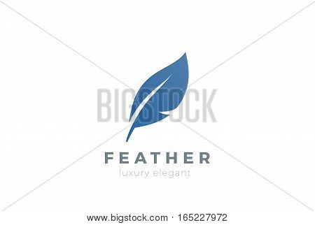Quill Feather Pen Logo design vector template. Law Legal Lawyer Copywriter Writer Stationary Logotype concept icon