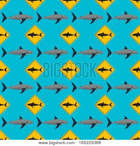 Vector illustration toothy seamless pattern swimming angry shark. Animal sea isolated character underwater cute marine wildlife mascot. Scary smile cool evil monster funny predator.