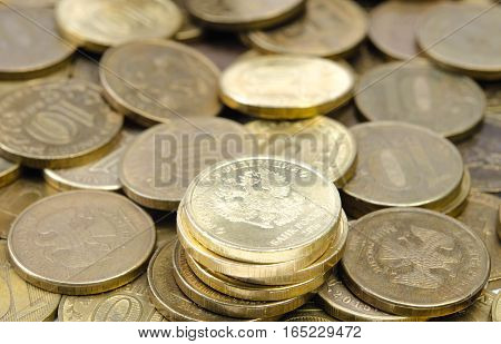 Russian coins pile of golden color in various denominations