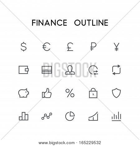 Finance outline icon set - dollar, euro, pound, ruble, yen, wallet, credit card, exchange, lock, shield, statistics, graph and others simple vector symbols. Bank, money and currency signs.