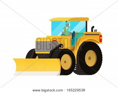 Yellow Tractor. Agricultural Transport. Big Wheels. Self-moving Car. Farmer Equipment. Vector Car. T