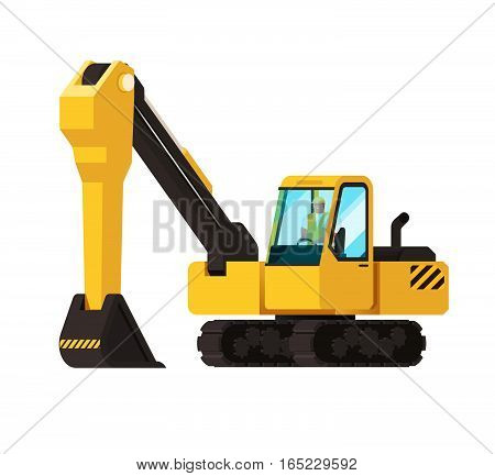 Vector Illustration With Cartoon Flat Industrial Excavator. Vector Construction Equipment. Mining Fl