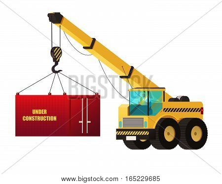 Crane Truck. Under Construction Concept. Heavy Construction Vector.