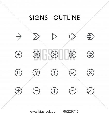 Signs outline icon set - different arrows, question and exclamation mark, checkmark, delete cross, plus, minus, information, menu and others simple vector symbols. Buttons and website signs.